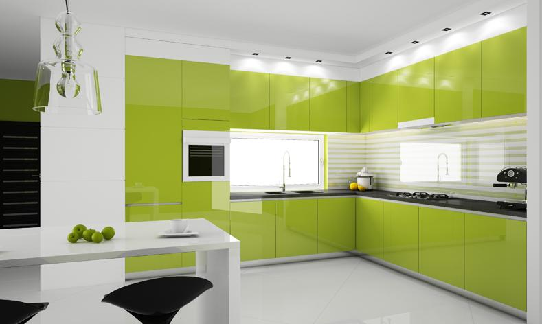 White-kitchen-with-glossy-green-kitchen-cabinets